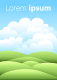 Vector illustration.Bright nature landscape with sky, hills and grass. Rural scenery. Field and meadow.  vector illustration