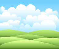 Vector illustration.Bright nature landscape with sky, hills and grass. Rural scenery. Field and meadow Stock Image