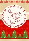Vector illustration of bright New Year greeting card with colorful fir trees ornament. Stock Image