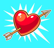 Vector illustration of bright red heart pierced by an arrow on b Stock Images