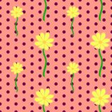 Seamless floral pattern with yellow cosmos flowers. Vector illustration, bright seamless floral pattern in vintage style, beautiful cartoon yellow cosmos flowers Stock Images