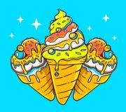 Vector illustration of bright three ice creams  Royalty Free Stock Photography