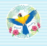 Vector illustration of a bright tropical bird parrot on a striped background. Colorful icon of tropical nature. Tropical leaves and hibiscus flower royalty free illustration