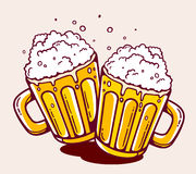 Vector illustration of bright two beer mugs on yellow background Stock Image