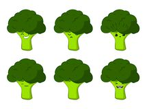 Vector illustration of an broccoli Cute cartoon vegetable vector character set isolated on white. Emotions. Stickers. kawaii royalty free illustration