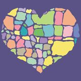 Vector illustration of broken colorful heart Stock Images