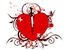 Vector illustration of a broken heart shape. Royalty Free Stock Photo