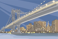 Vector illustration of Brooklyn Bridge in New York City royalty free stock images