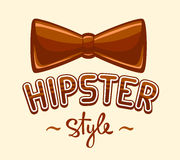 Vector illustration of brown bow tie and lettering hipster style Stock Image