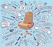 Vector illustration of brown office armchair of the head with lo Royalty Free Stock Photos
