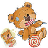 Vector illustration of a brown teddy bear is holding in its paws and eating a lollipop Royalty Free Stock Photos