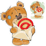 Vector illustration of a brown teddy bear holding in its paws an open postal envelope with an e-mail sign Stock Photos