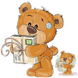 Vector illustration of a brown teddy bear holding in its paws received letters Royalty Free Stock Image