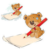 Vector illustration of a brown teddy bear holding a pencil in his paws and writing it on a paper Royalty Free Stock Photography