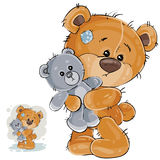 Vector illustration of a brown teddy bear hugging his soft toy and missing someone Stock Images