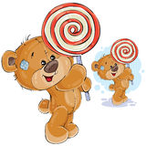 Vector illustration of a brown teddy bear keeps in its paws lollipop Royalty Free Stock Photos