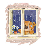 Vector illustration of a brown teddy bear looks out the window on the rain and sad Royalty Free Stock Photography