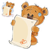 Vector illustration of a brown teddy bear misses and wrote a love letter Royalty Free Stock Image