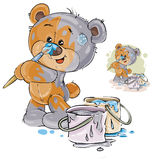 Vector illustration of a brown teddy bear paints itself in gray, and its nose in blue. Print, template, design element Stock Photos