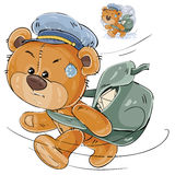 Vector illustration of a brown teddy bear postman hurrying, carrying a bag with letters Royalty Free Stock Photography