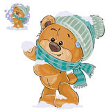 Vector illustration of a brown teddy bear rejoicing in the fallen snow Stock Photo