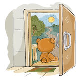 Vector illustration of a brown teddy bear sad sitting on the porch, looking at the road and waiting for someone Royalty Free Stock Photos