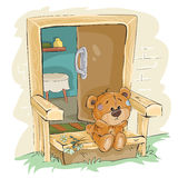 Vector illustration of a brown teddy bear sad sitting on the porch and waiting Stock Images