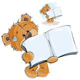 Vector illustration of a brown teddy bear showing a page of an open book, a notebook Royalty Free Stock Photos