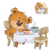 Vector illustration of a brown teddy bear sitting at a table with two cups and missing someone. Print, template, design element Royalty Free Stock Images