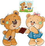 Vector illustration of a brown teddy bear sweet tooth unfurled a chocolate bar and gives it to his girlfriend Stock Photography