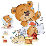 Vector illustration of a brown teddy bear tailor sews a red patch in the shape of a heart. Print, template, design element Stock Image
