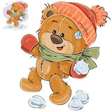 Vector illustration of a brown teddy bear throws a snowball Royalty Free Stock Photo