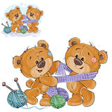 Vector illustration of a brown teddy bear tie a knitted scarf on the neck of another teddy bear Stock Photo