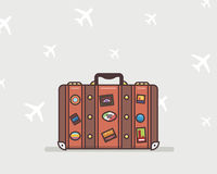 Vector illustration of a brown travel suitcase Stock Images