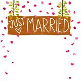 Vector illustration of brown wooden board with text Just married, plants and rose petals. Isolated on white background, perfect for wedding invitations Royalty Free Stock Photography