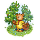 Vector illustration of bruin bear with pine cones Stock Photography