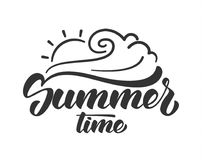 Brush lettering composition of summer time with line sun and wave on white background. Vector illustration: brush lettering composition of summer time with line Royalty Free Stock Photo