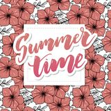 Vector illustration: Brush lettering composition of Summer Vacation isolated on white background slogan. Vector illustration: Brush lettering composition of royalty free illustration