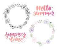 Vector illustration: Brush lettering composition of Summer Vacation slogan Hello summer Sale Set vector illustration