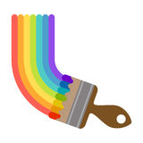 Vector illustration brush painting rainbow. For design Stock Photos