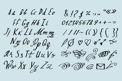 Vector Illustration brush style of calligraphy alphabet. Lowercase letters and numbers Royalty Free Stock Photography