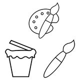 Vector illustration of brushes for drawing with a palette and a bucket of paint. royalty free illustration