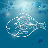 Vector illustration with bubbles, fish and handwritten word  Royalty Free Stock Image