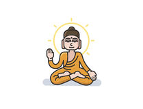 Vector illustration of Buddha sitting in the lotus position. Royalty Free Stock Photography