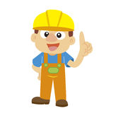 Vector illustration of a builder in yellow helmet Stock Photography