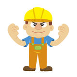 Vector illustration of a builder in yellow helmet Royalty Free Stock Photo