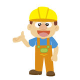 Vector illustration of a builder in yellow helmet Royalty Free Stock Photography