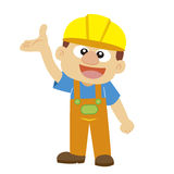 Vector illustration of a builder in yellow helmet Stock Photo
