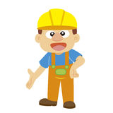 Vector illustration of a builder in yellow helmet Stock Images