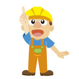 Vector illustration of a builder in yellow helmet Royalty Free Stock Image
